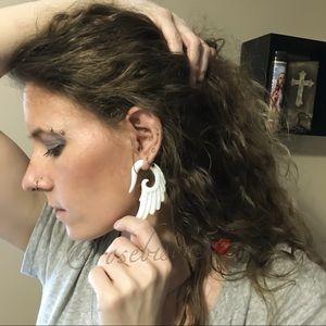 Jewelry - 🕊HP! Boho-Gypsy Angel Wing Gauged Hanger Earrings
